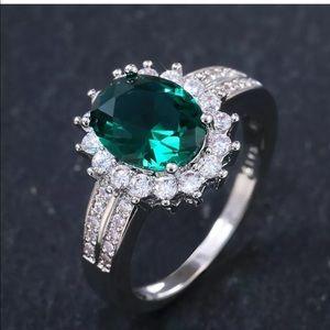 925 Silver green Emerald Wedding&Engagement Ring